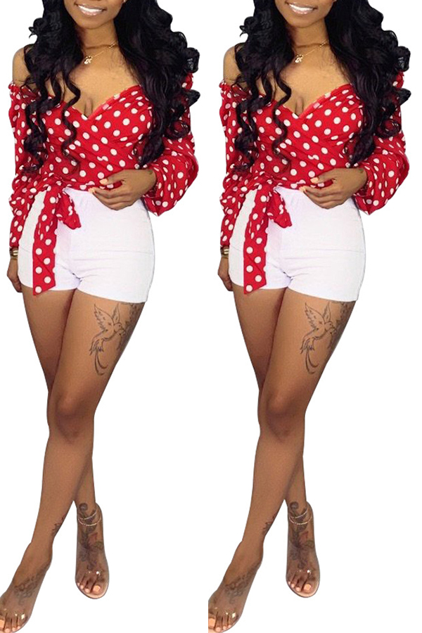 Lovely Sweet Dot Printed Red Blouse