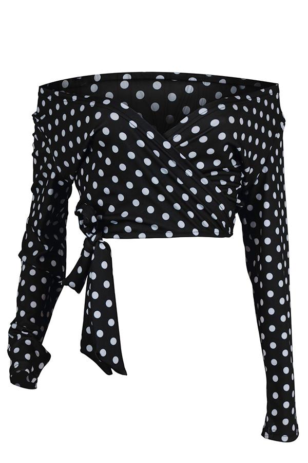 Lovely Sweet Dot Printed Black Blouse