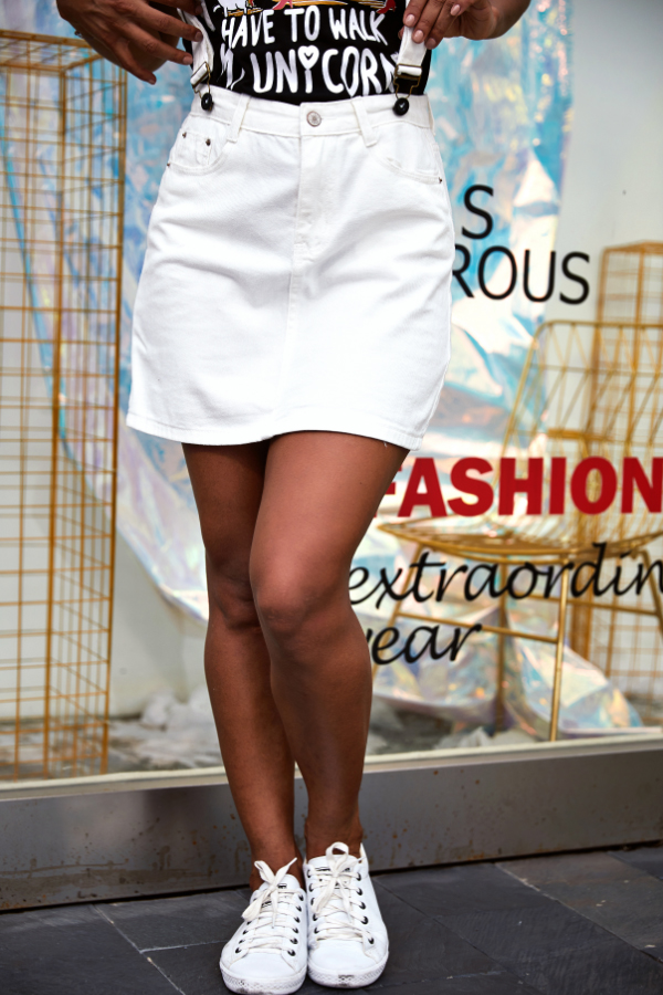Lovely Casual White Cotton Mini A Line Skirt