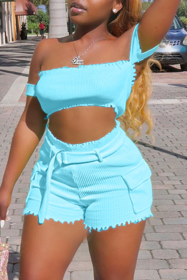 Lovely Casual Off The Shoulder BabyblueTwo-piece Shorts Set