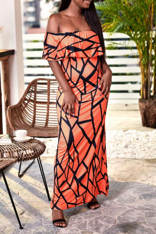 Lovely Casual Off The Shoulder Printed Orange Ankle Length Dress