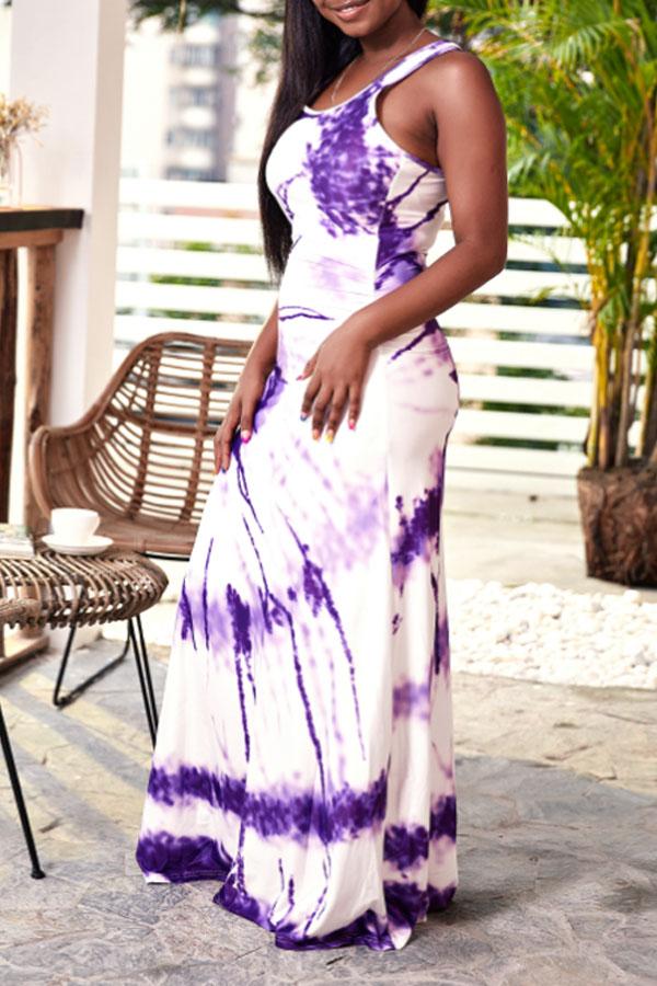 Lovely Casual U Neck Printed Purple Floor Length Dress