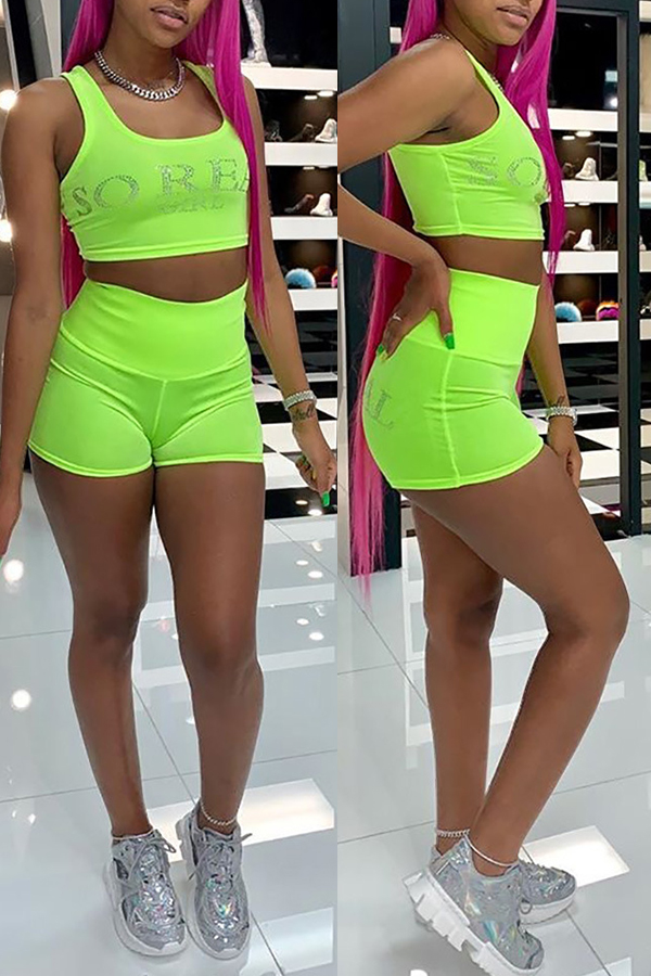 Lovely Casual Rhinestone Decoration Green Two-piece Shorts Set