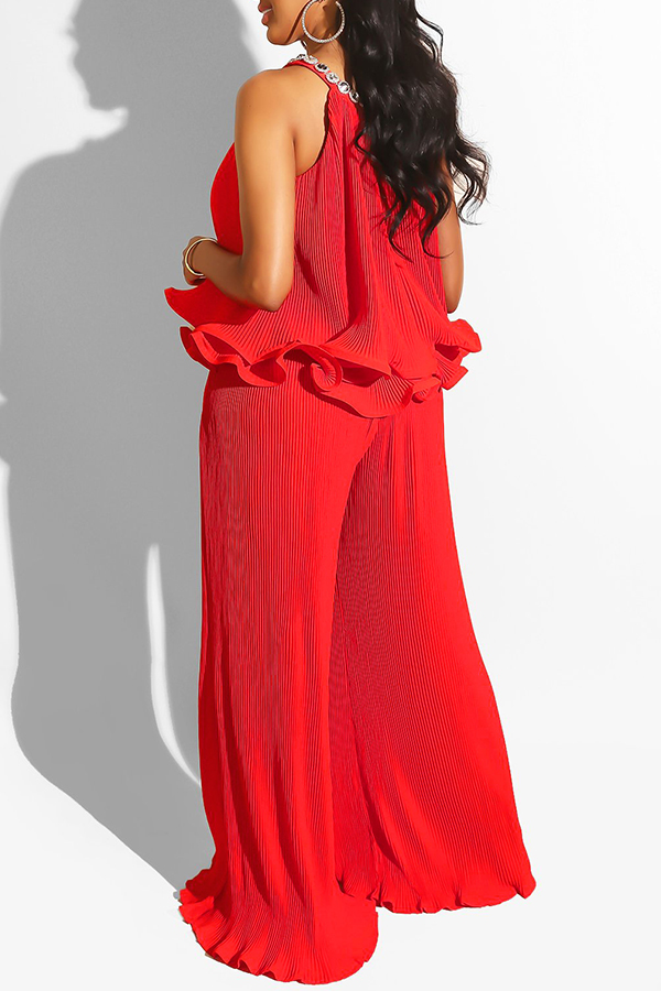 Lovely Sweet O Neck Ruffle Design Red Two-piece Pants Set