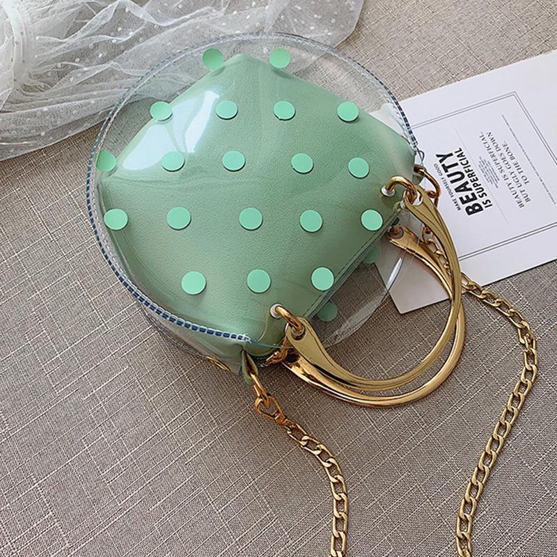 Lovely Stylish Dot Printed See-through Green PU Crossbody Bag
