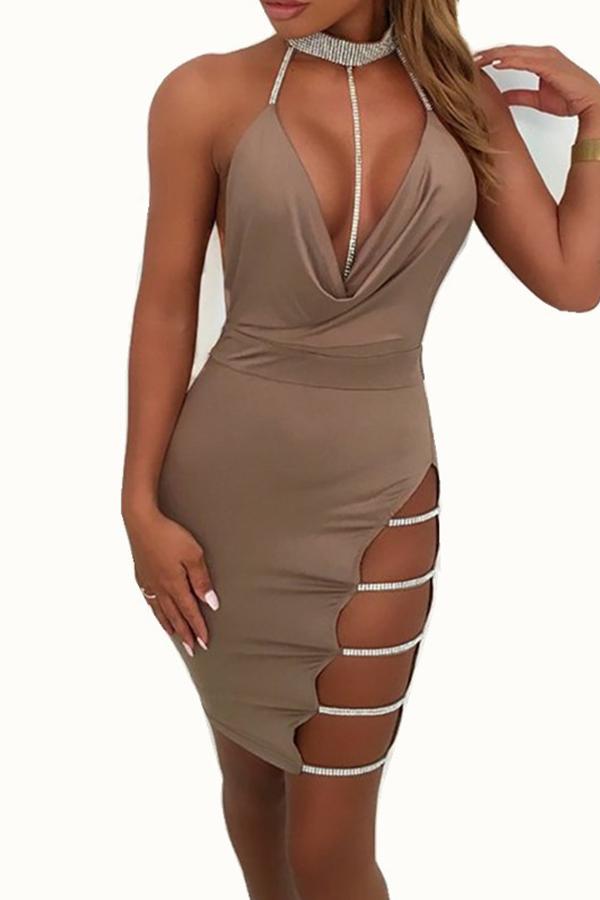 Lovely Sexy Halter V Neck Backless Khaki Mini Prom Dress