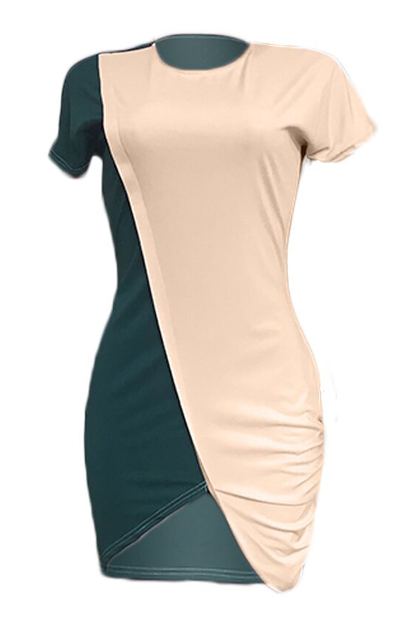 Lovely Casual O Neck Patchwork Asymmetrical Mini Dress