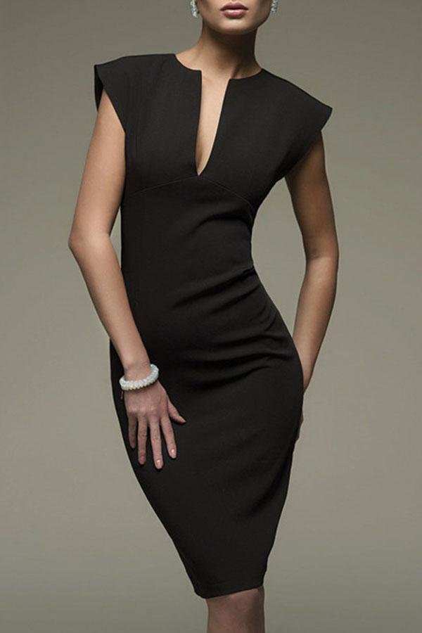 Dress Lovely Stylish V Neck Black Knee Length OL Dress