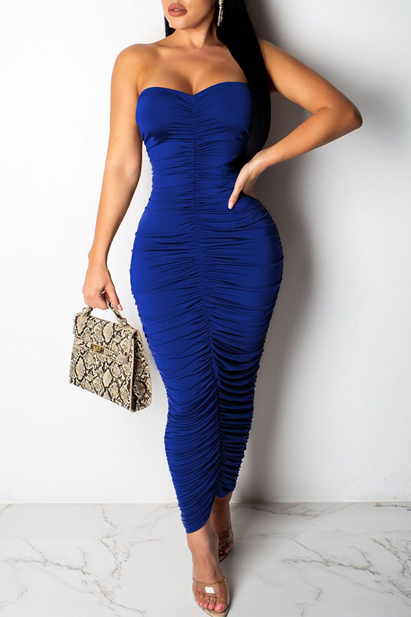 Lovely Casual Off The Shoulder Drape Design Blue Ankle Length Dress