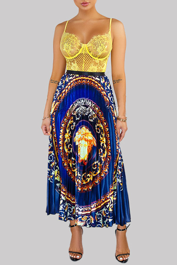 Lovely Ethnic Style Totem Printed Blue Ankle Length A Line Skirt
