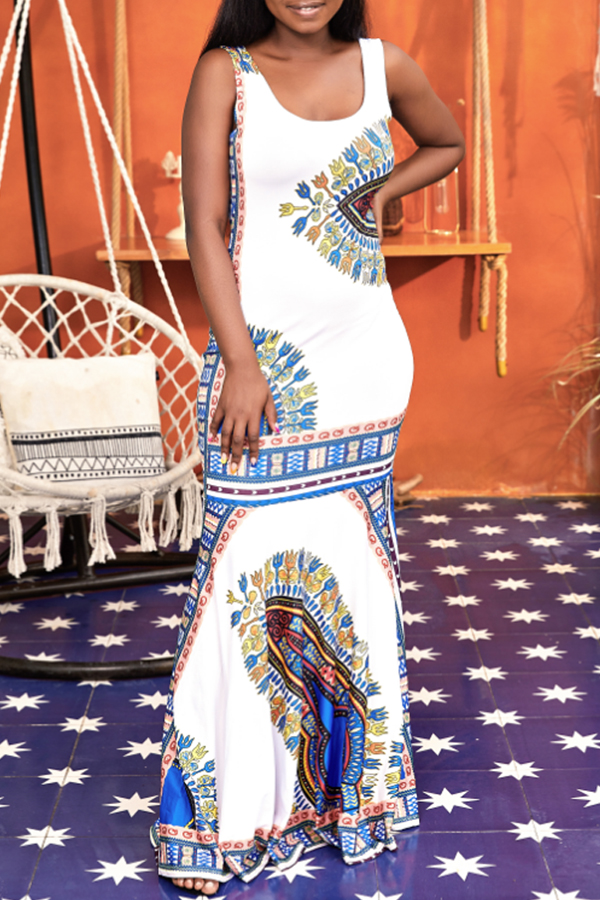 Lovely Ethnic Style U Neck Totem Printed White Floor Length Trumpet Mermaid Dress