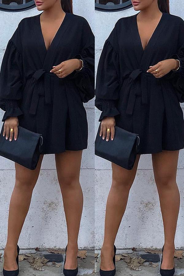 Lovely Work V Neck Lace-up Black Mini Dress