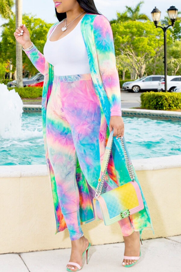 Lovely Casual Tie-dye Multicolor Two-piece Pants Set