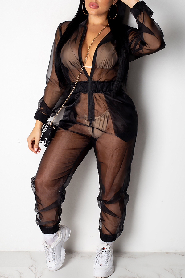 Lovely Sexy See-through Black One-piece Jumpsuit(Without Lining)