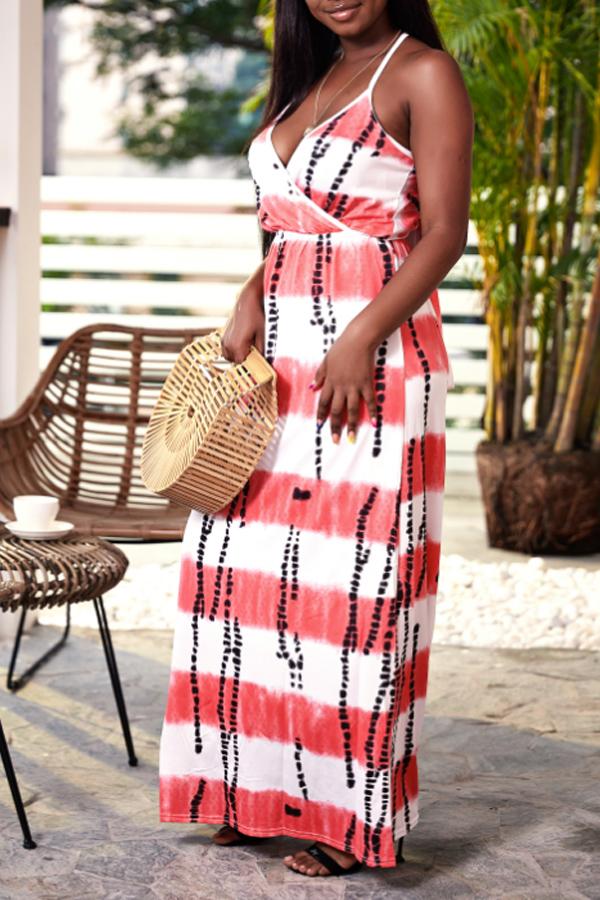 Lovely Casual V Neck Printed Backless Pink Floor Length Beach Dress