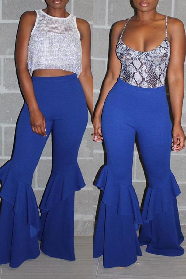 Lovely Stylish High Waist Ruffle Patchwork Blue Pants