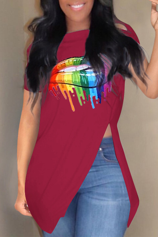 Lovely Casual Printed Side Split Wine Red T-shirt
