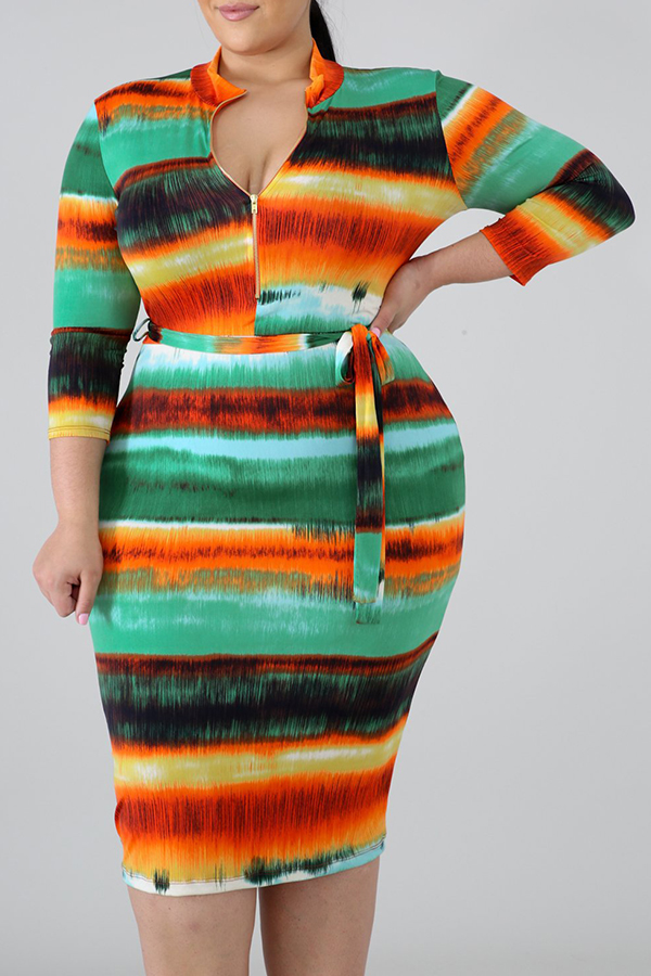 Lovely Casual V Neck Printed Multicolor Knee Length Plus Size Dress