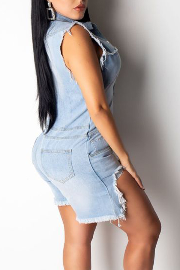 Lovely Stylish Buttons Design Baby Blue Denim One-piece Romper