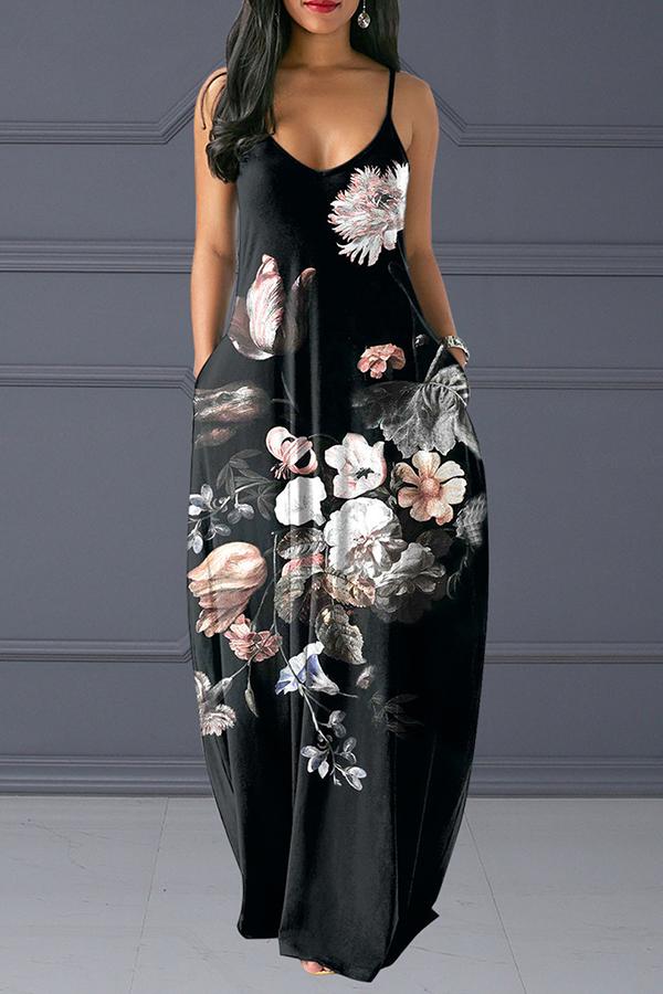 Lovely Casual V Neck Spaghetti Straps Printed Black Floor Length Dress
