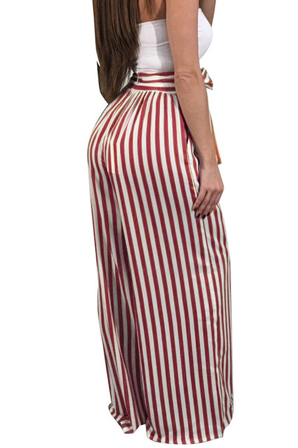 Lovely Stylish High Waist Striped Red Pants