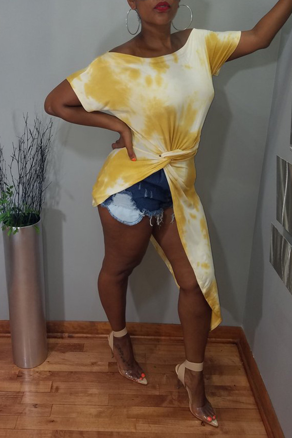 Lovely Casual Off The Shoulder Tie-dye Asymmetrical Yellow T-shirt