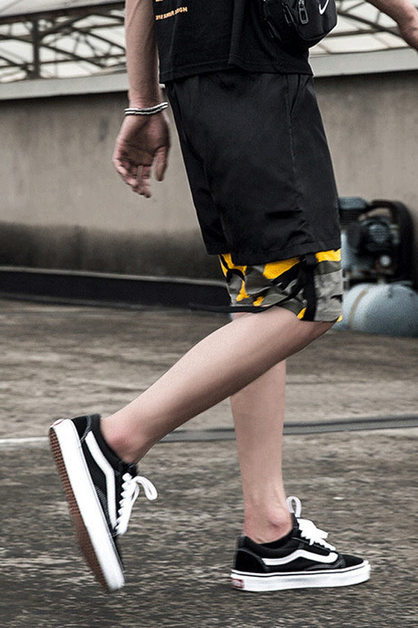 Lovely Casual Printed Patchwork Yellow Shorts