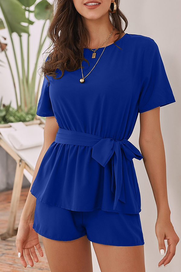 Lovely Casual Lace-up Blue One-piece Romper
