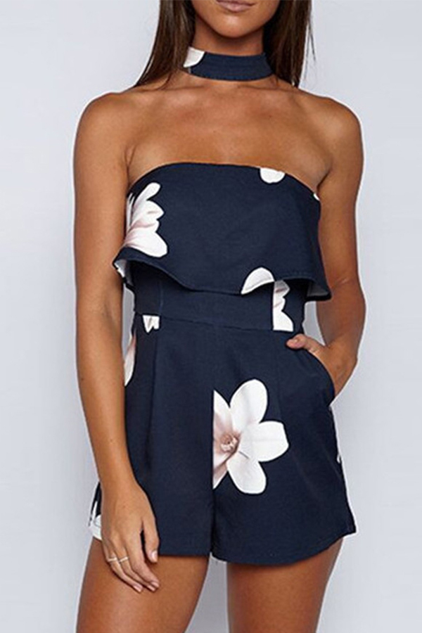 Lovely Bohemian Off The Shoulder Printed Ruffle Blue One-piece Romper