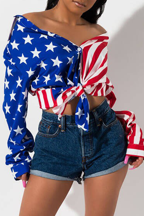 Lovely Independence Day Casual Printed Patchwork Multicolor Shirt