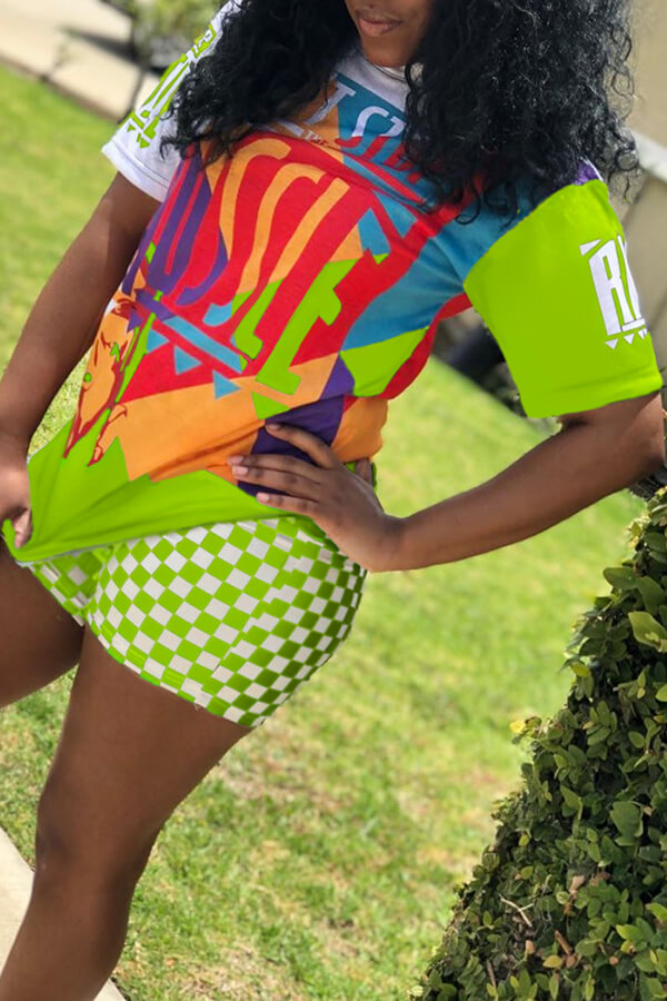 Lovely Casual Printed Plaid Green Two-piece Shorts Set