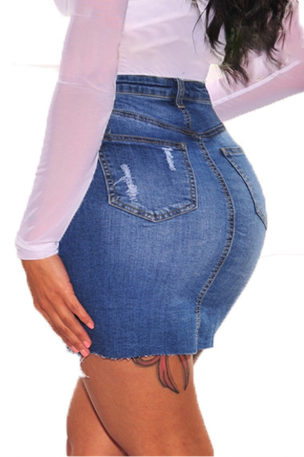 Lovely Casual High Waist Deep Blue Denim Mini Skirt