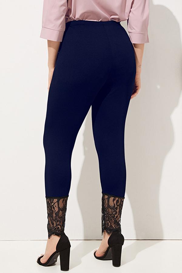 Lovely Stylish Lace Patchwork Black Plus Size Leggings