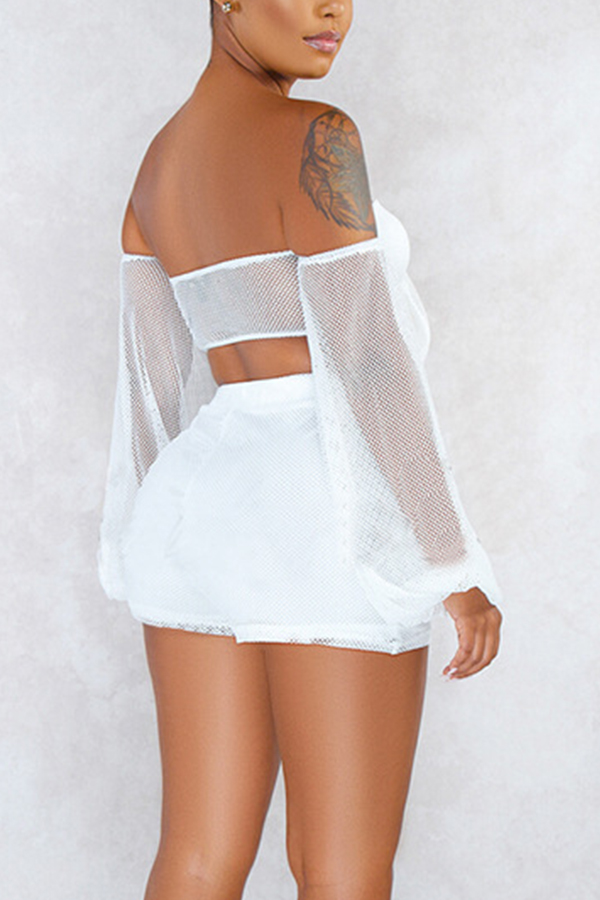Lovely Sexy Off The Shoulder White Two-piece Shorts Set