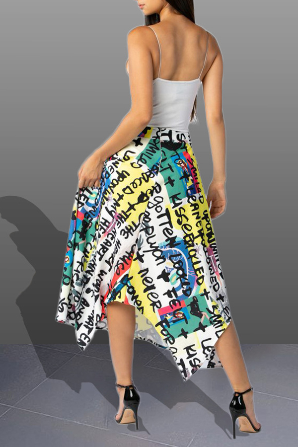 Lovely Stylish Letter Printed Asymmetrical Multicolor Ankle Length A Line Skirt