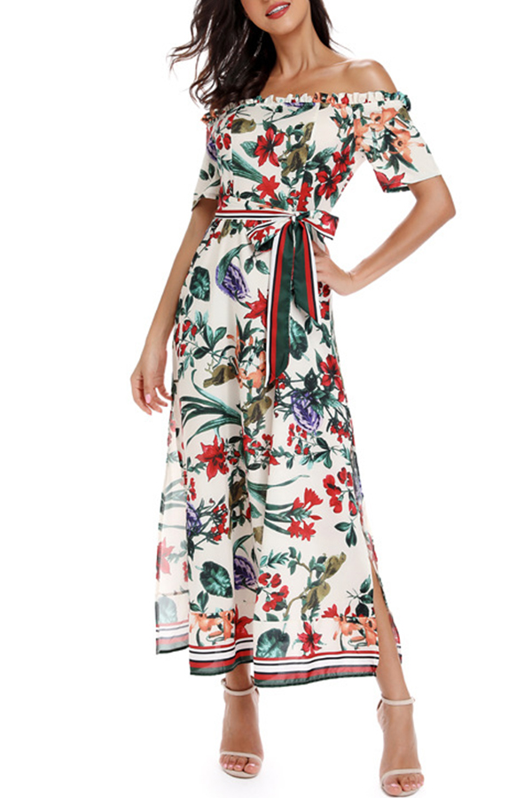 Lovely Bohemian Off The Shoulder Floral Printed White Mid Calf Dress
