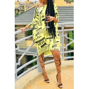 Lovely Casual One Shoulder Letter Printed Yellow Knee Length Dress