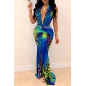 Lovely Sexy Deep V Neck Printed Multicolor Floor L
