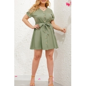Lovely Stylish V Neck Buttons Design Lace-up Green