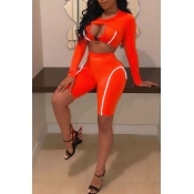 Lovely Sexy O Neck Hollow-out Jacinth Two-piece Sh