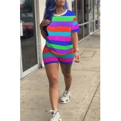Lovely Casual O Neck Striped Patchwork Multicolor Two-piece Shorts Set