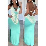 Lovely Sexy V Neck Printed Backless Baby Blue Floor Length Dress