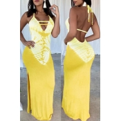 Lovely Sexy V Neck Printed Backless Yellow Floor Length Dress