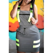 Lovely Casual Square Collar Hollow-out Grey Mini D