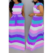 Lovely Casual Striped Printed Purple Floor Length Dress