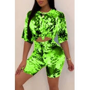 Lovely Casual O Neck Printed Green Two-piece Shorts Set