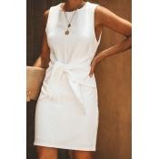 Lovely Work O Neck Knot Design White Mini Dress