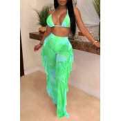 Lovely Printed Ruffle Design Green Two-piece Swimw
