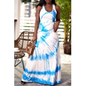 Lovely Casual U Neck Printed Baby Blue Floor Length Dress
