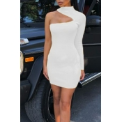 Lovely Stylish One Shoulder Hollow-out White Knee